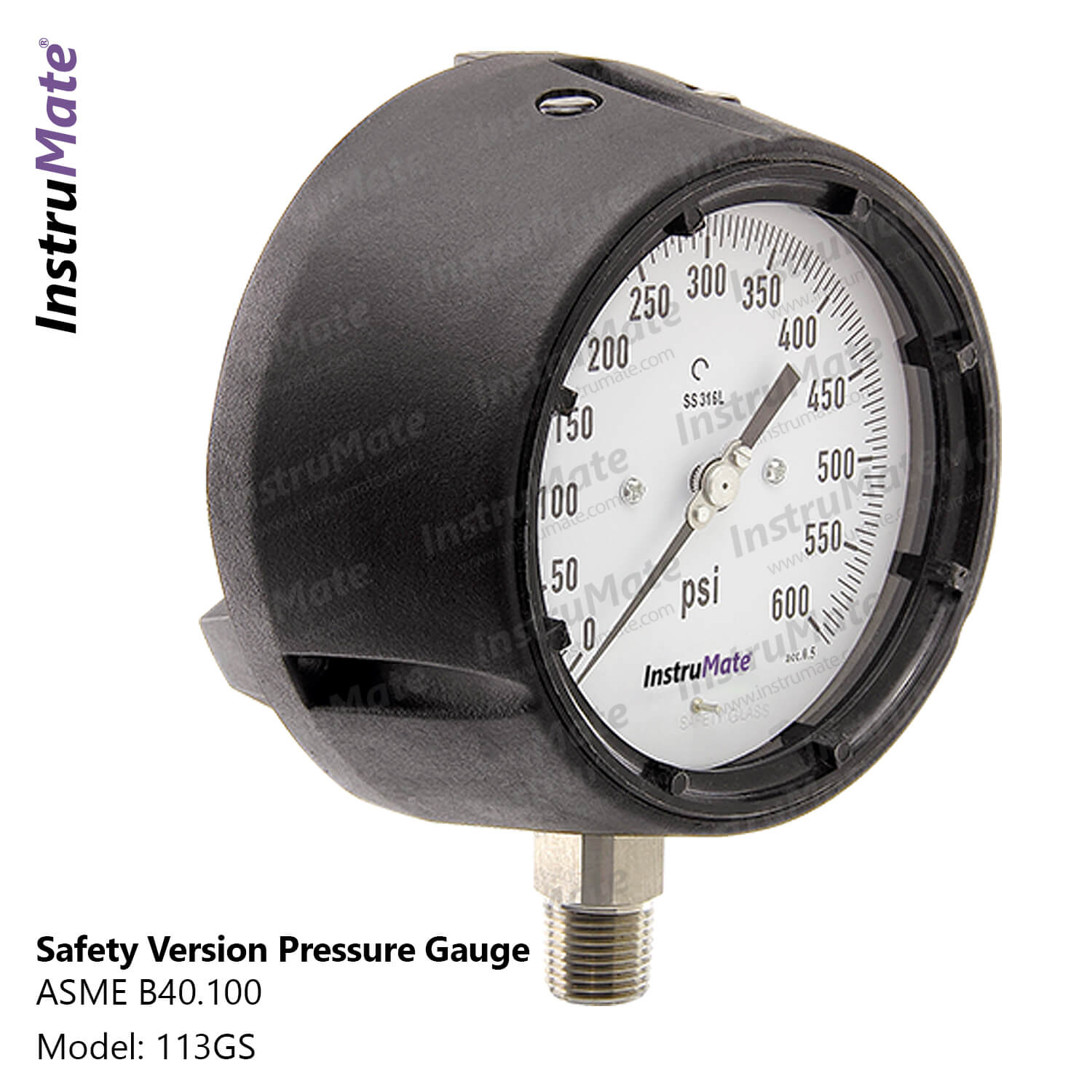 Safety version pressure gauge - 113GS - instrumate